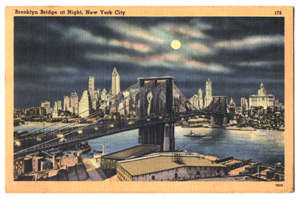 Postcard of the Brooklyn Bridge at night.