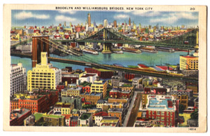 Postcard of Brooklyn Bridge.