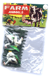 Plastic farm animals.