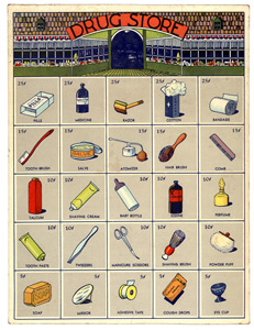 Poster of drug store products.